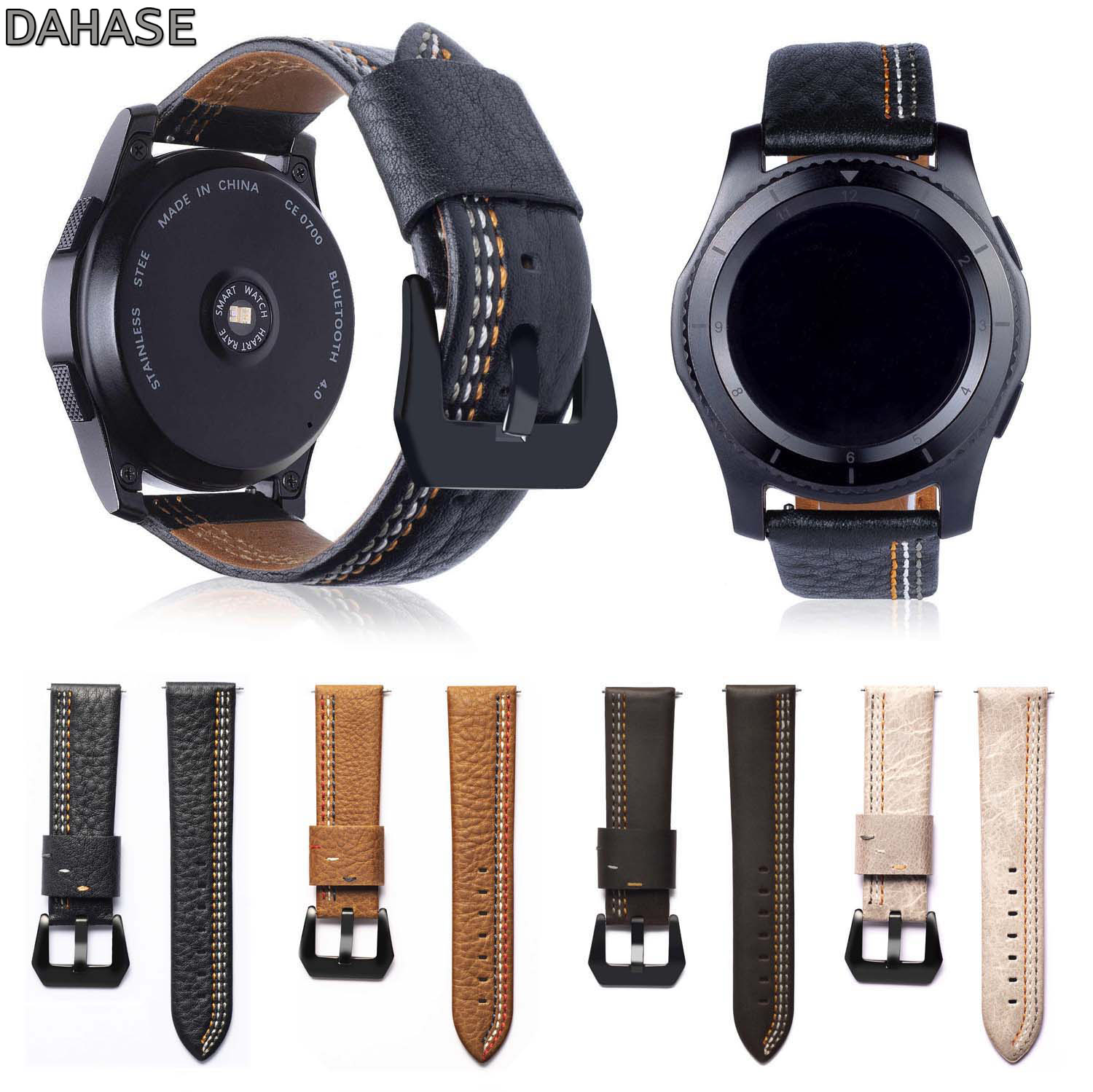 DAHASE Genuine Leather Watch Strap For Samsung Gear S3 Band Replacement Watch Bracelet For Gear S3 Classic Frontier 22mm gear s3 frontier classic watch band 22mm soft silicone man watch replacement bracelet strap for samsung gear s3