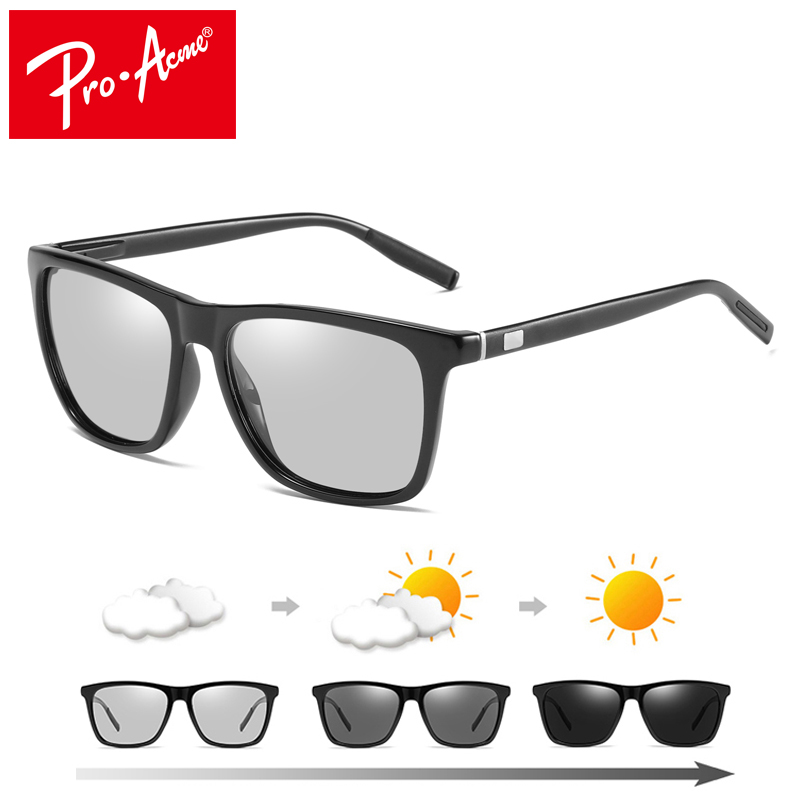 Pro Acme di Guida Intelligente Fotocromatiche Occhiali Da Sole per le Donne Degli Uomini Occhiali Da Sole Polarizzati Chameleon Scolorimento Occhiali Da Sole Quadrati PA1081