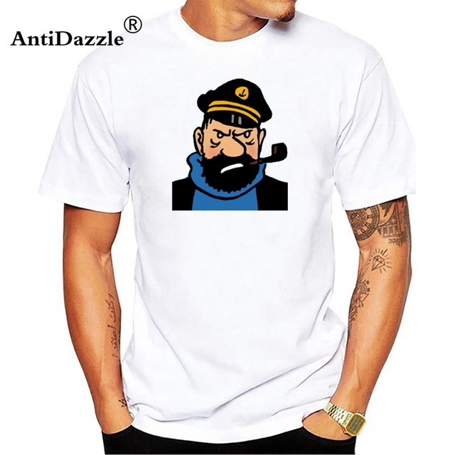 f81b85a36db Antidazzle New Summer Style Men'S High Quality Tops Hipster Tees Captain  Haddock Make Your Own T Shirt Printed T Shirt