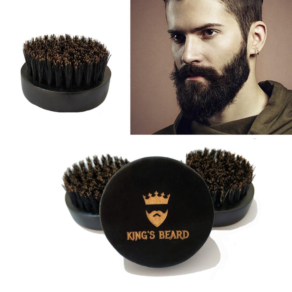 1PCS High-Grade Brush Men's Shaving Brush Boar Bristle Natural Wood Black Round Beard Brush