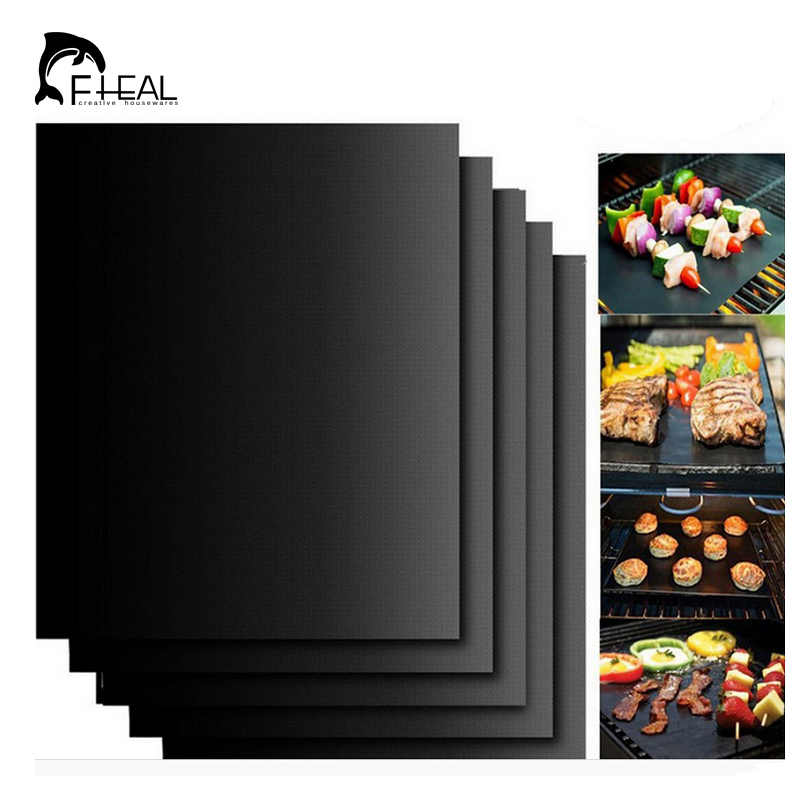 FHEAL 2pcs/set Reusable BBQ Grill Mat Pad Sheet Hot Plate Portable Easy Clean Nonstick Cooking Tool BBQ Accessories 40*33cm