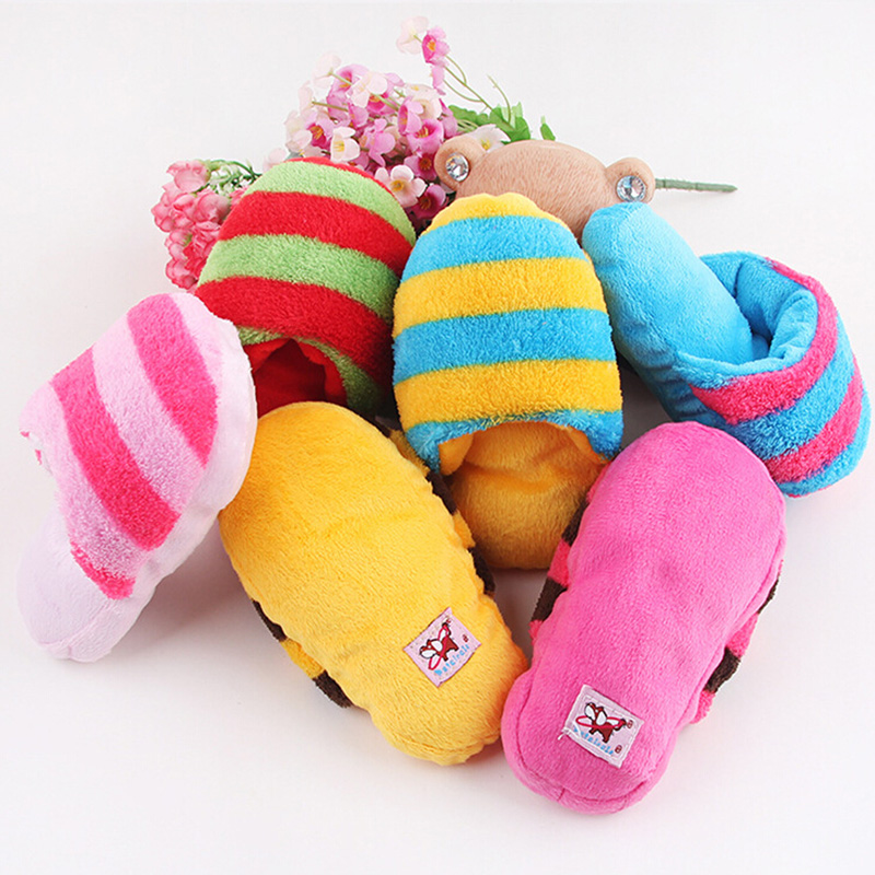1pcs Pet Puppy Sound Chew Toy Shoes Fad Dog Slipper Play Squeaker Plush Slippers Stripe
