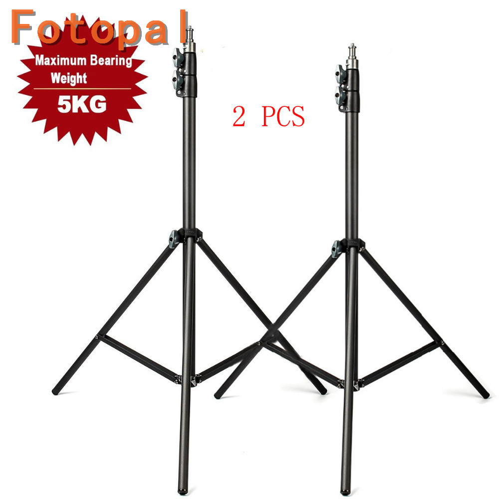 2pcs Fotopal Professional 200cm 2m Light Stand Tripod With 1/4 Screw Head For Canon Camera Video Lamp Holder Flash Lighting