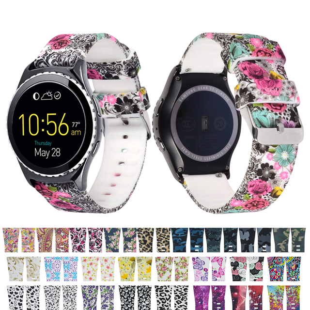 22MM Printing silicone band for Samsung Gear S3 Frontier/Classic strap rubber wa
