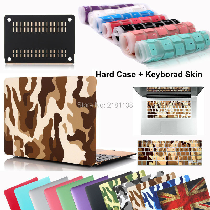 Fashion Camouflage Rubberized Hard Case Keyboard Skin Cover For MacBook Air 11 13 Pro 13 15 Retina