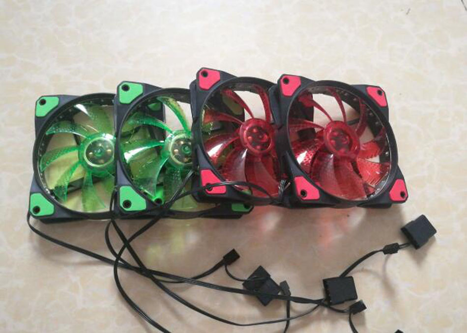 Купить с кэшбэком NEW 12cm computer case fan silent 30 led red/blue Color Nine Sickle Leaves Fan PC Case System Cooling Fan 4pin&3pin