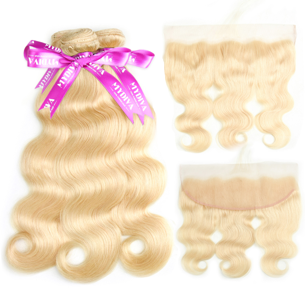 613 Bundles With Frontal Blonde Body Wave Bundles With Closure Remy Brazilian Human Hair Weave Bundles