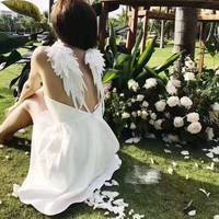 unique wings design sarafans white dress for women sexy summer dress mujer amazing vestidos de festa evening party beach dress
