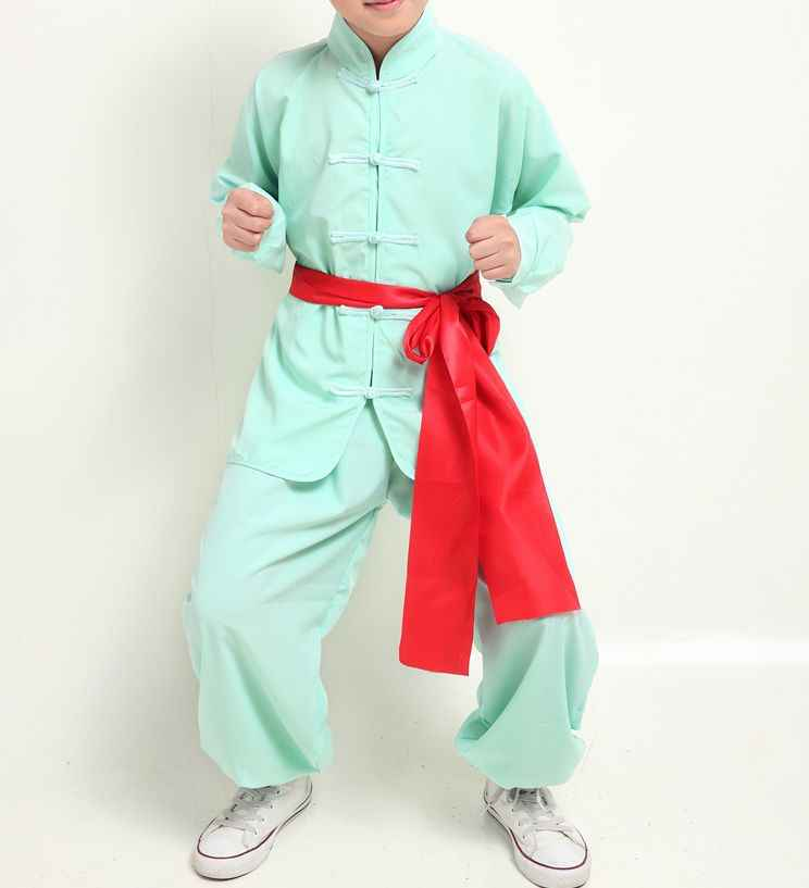unisex 5color Children kids&adult martial arts uniform kung fu long-sleeve clothing tai chi suits black/white/red/yellow