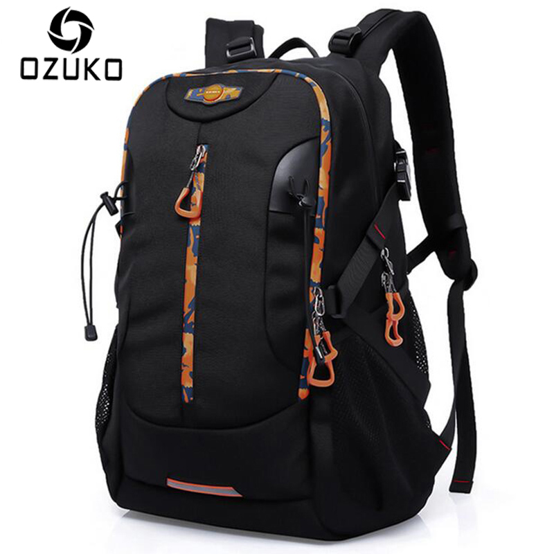 цена OZUKO Fashion Men Travel Backpack 20 inch Waterproof Oxford Laptop Backpack Multifunctional Shoulder Bag Large Capacity Mochila