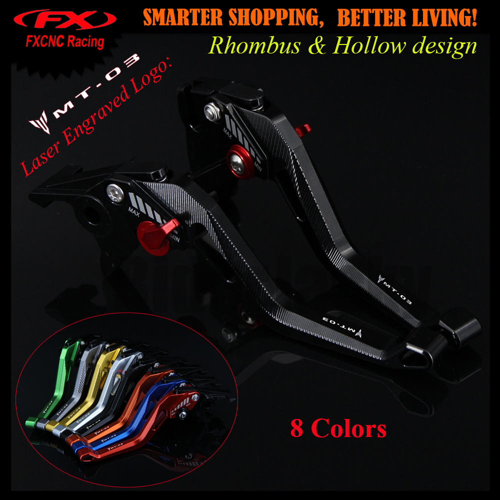 3D design (Rhombus Hollow) Black CNC Motorcycle Adjustable Brake Clutch Lever For Yamaha MT-03 MT 03 MT03 2006-2011 2009 2010 2016 hot sale golden color cnc aluminium motorcycle brake clutch lever protect guard for yamaha mt 01 2004 2009