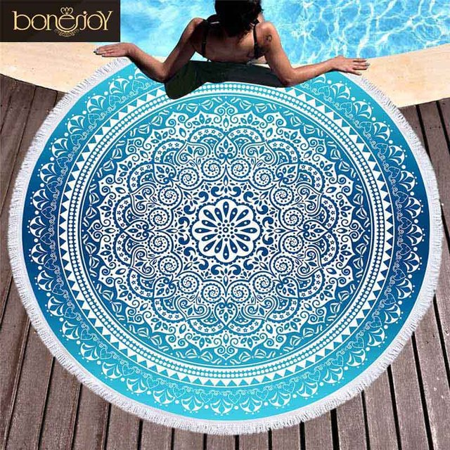 Bonenjoy Blue Color Bohemia Beach Towel Mandala Round Tassel Yoga Mat Toalla Beach Towel Diameter 150cm