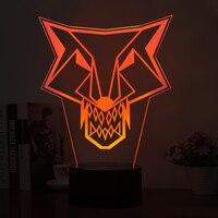 Mystic 3D wilk Kształt Noc Światła LED LED 5 V USB Power Przycisk Dotykowy Lampa Stołowa jak Art Dekoracje Lampy