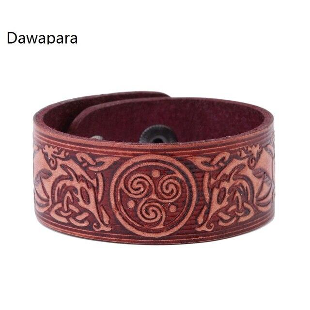 Dawapara Two Dragons Round Three Helix Patterns Uni Religious Cuff Bracelets Men S Bracelet Jewelry