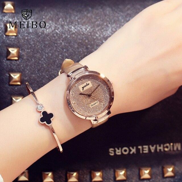 42abb54b043 MEIBO Moda Sands Estrelado Negócio Temperamento Simples Mesa Diamante das Mulheres  relógios de Quartzo Presente relogio