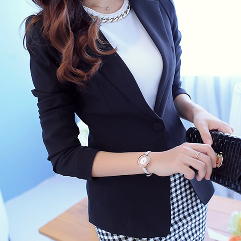 Peonfly  Ladies Blazer  Long Sleeve Blaser Women Suit Jacket Female Feminine Blazer Femme Pink Blue White Black Blazer 2018