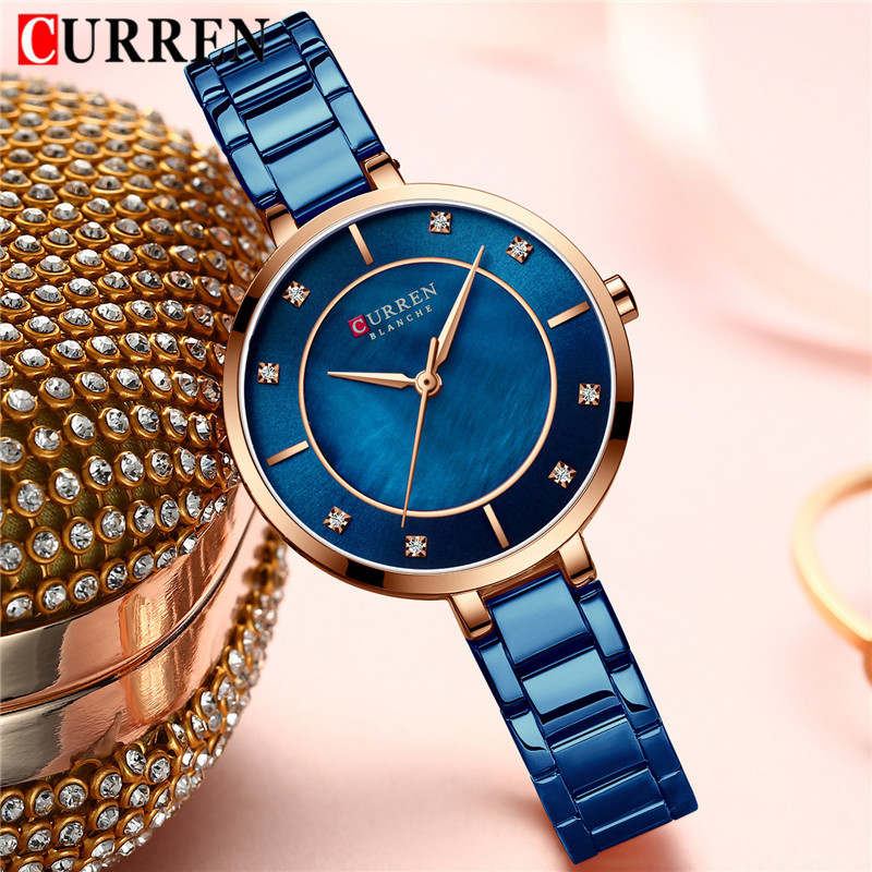 CURREN Women Watches Top Brand Luxury Gold Blue Ladies Wrist Quartz Watch Stainless Steel Classic Bracelet Female Clock New 9051