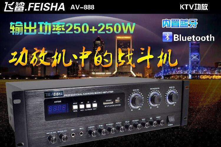AV-888 250 W + 250 W HIFI professionnel KTV maison karaoké OK amplificateur Bluetooth USB SD Microphone Bluetooth entrée audio