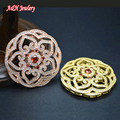 Rose Gold Color Hollow Out Flower Pendants Super High Quality Full Of CZ Beads Paved Setting Pendant 5pc/lot