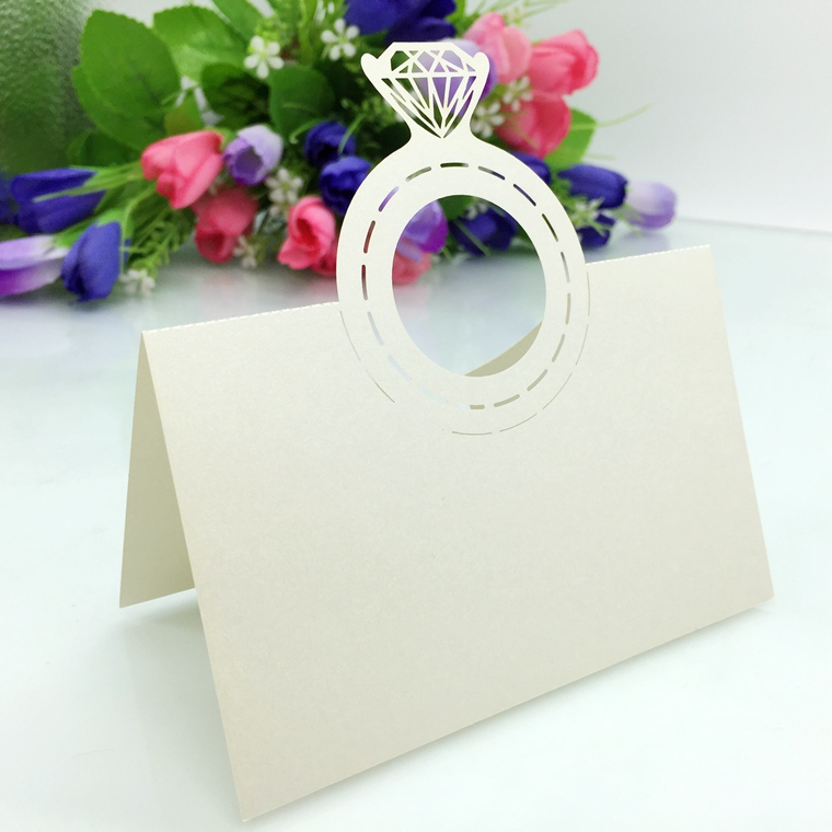 50pcs  Laser Cut Diamond Ring Table Name Place Cards Wedding birthday Party Supplies Party Favor-4
