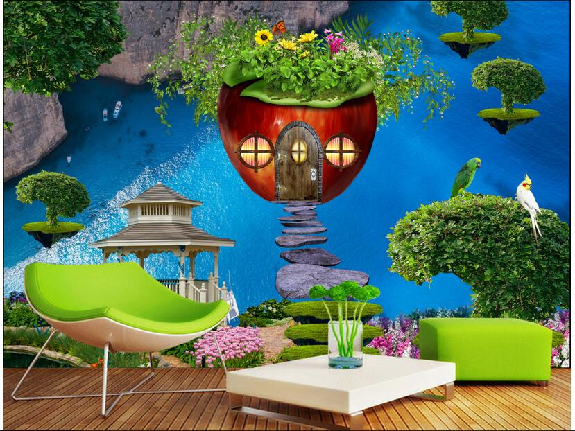 3d wallpaper custom photo non-woven mural picture Apple's house children room 3d murals wallpaper room decoration wallpaper