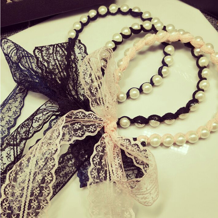 Korea new jewelry pearl lace bow ribbon winding hair hoop headband hair band korean hair jewelry bow hair hoop headband free home delivery