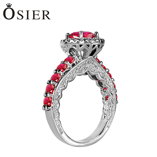 Cz Diamonds Inlaid Vintage Ruby Wedding Rings Women White Gold Plated Engagement Red High