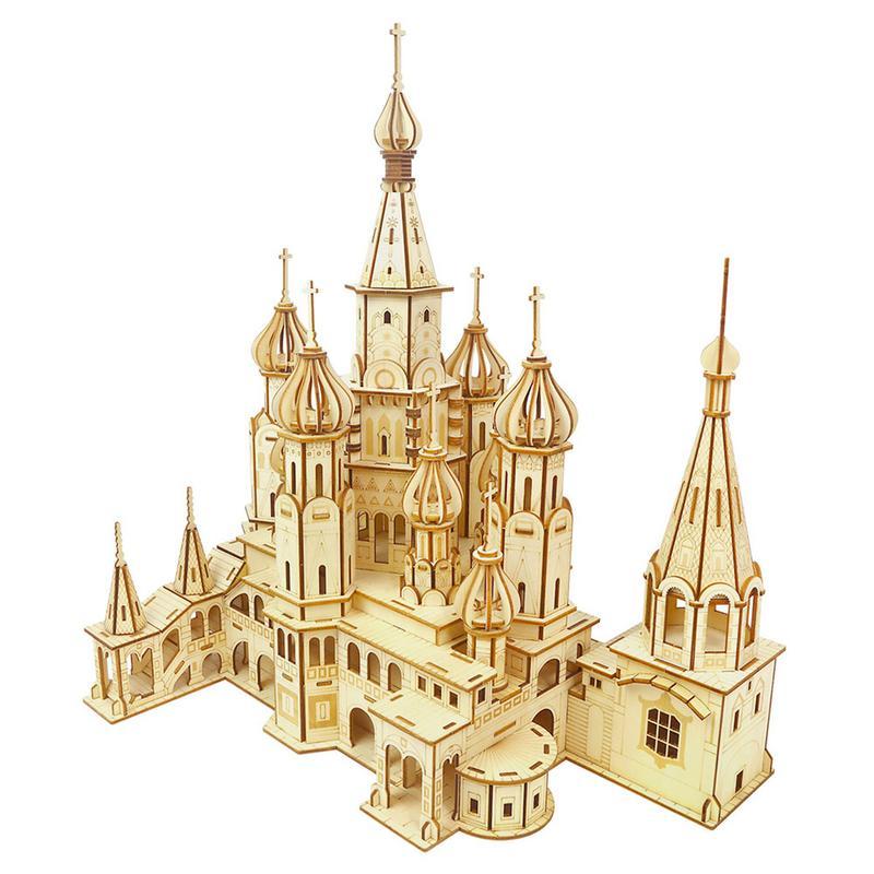 Jouet en bois Puzzle Laser Gravure BRICOLAGE Assemblée Constructeur Kit Jouet Enfant Adolescent Adulte Saint-Basile Cathédrale Mécanique 3D Modèle