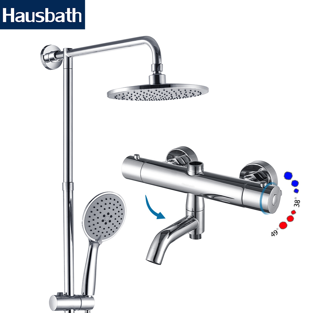 Rainfall Bath Shower Faucet Set Thermostatic Mixer Shower Bathroom Faucet Shower Tap Faucet Bathtub Tap Waterfall dofaso all cooper 20cm square rain shower thermostatic shower mixer set rainfall bath tap thermostatic shower faucet