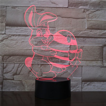 Cute Bunny Table Lamp Bedroom Cartoon Decoration RGB Touch Sensor Children Kids Gadget Gift Easter Rabbit Night Light LED Hare easter gift usb silica led cartoon night light