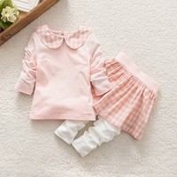 Baby Kids Girls Long Sleeve T-Shirt + Skirt Pants Set Clothes Outfit 2Pcs