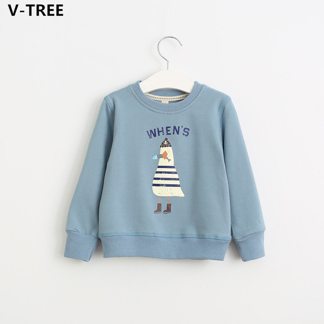 V-TREE Boys Cotton Hoddies Spring Baby Boy Long Sleeve T Shirts Children Sport Fleeces Toddler Cartoon T-Shirt Casual Sweatshirt