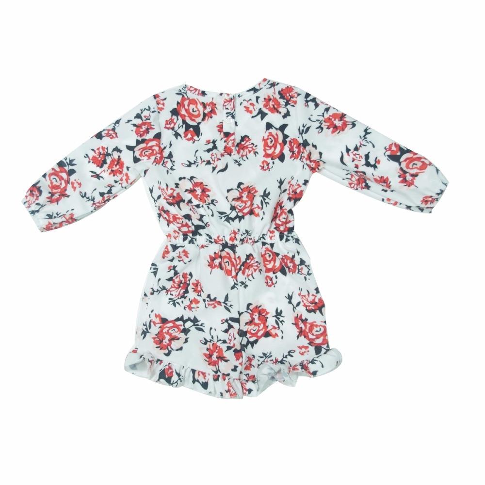 2017 pasgeboren baby meisje bloemenprint ruche wit romper lange mouw - Babykleding