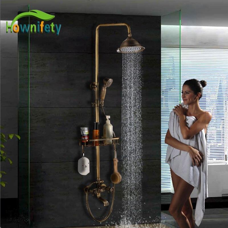 """Angemessen Antike Messing Beliebte Dusche Set Bad Wasserhahn 8 """"dusche Kopf Hot & Cold Dusche System Mischer Bad Wasserhahn Mit Regal SchöN Und Charmant"""