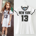 Kids Girls Dresses Cotton Letter Print Short Sleeve Children Clothing Summer Preppy Style Kids Dresses 2 3 4 5 6 7 8 9 14 Years
