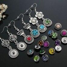 10 paires femmes interchangeables 12mm bricolage breloque mini bouton pression sur bijoux boucles doreilles