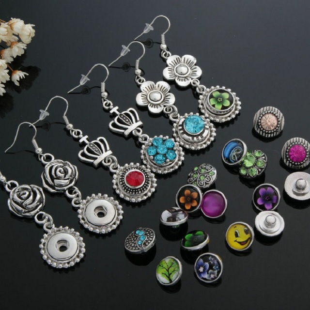 10 pairs womens interchangeable 12mm DIY Charm mini snap on button jewelry earrings