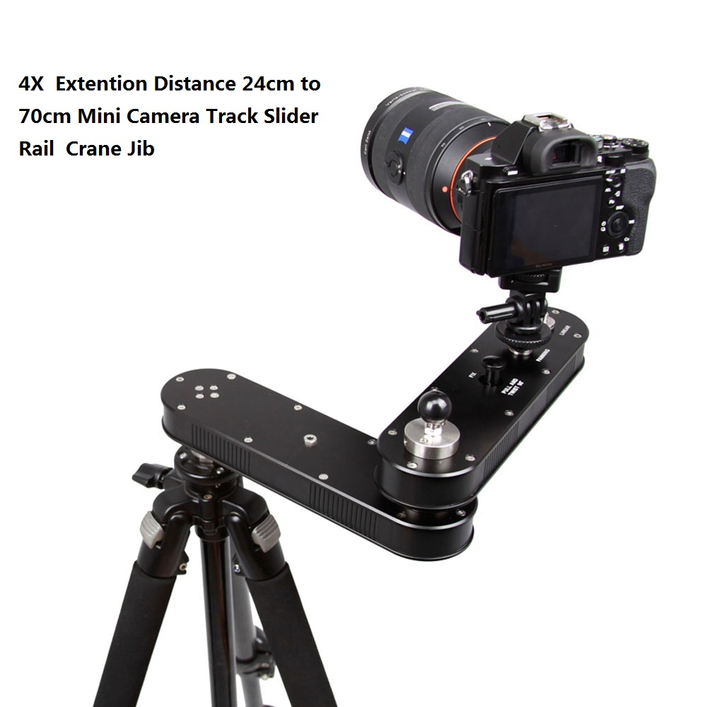 Portable 4X  Extention Distance 24cm to 70cm Mini Camera Slider Adjustable DSLR Video Dolly Track Rail Moving Slider Crane Jib