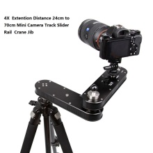 Portable 4X  Extention Distance 24cm to 70cm Mini Camera Slider Adjustable DSLR Video Dolly Track Rail Moving Slider Crane Jib new 4 wheels for diy camera dolly rig slider track table skater u groove