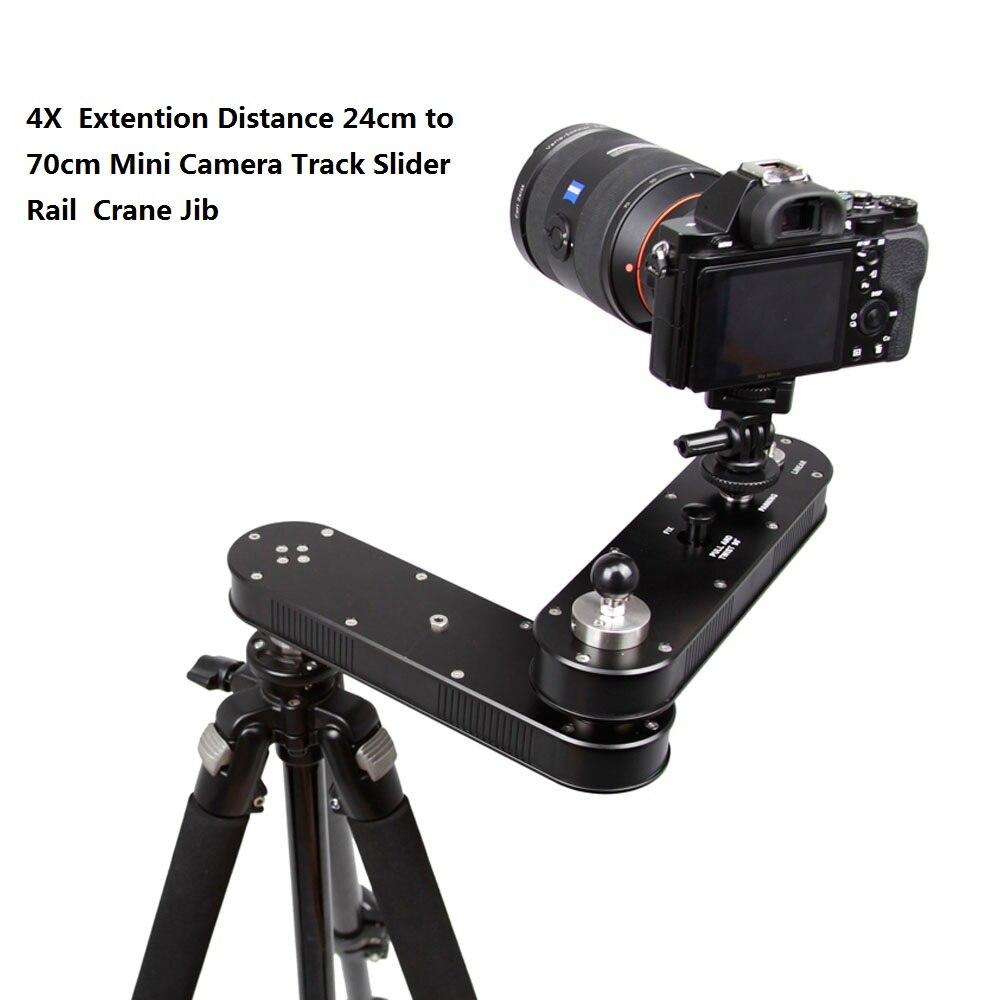 Portable 4X extension Distance 24 cm à 70 cm Mini caméra curseur réglable DSLR vidéo Dolly Rail mobile curseur grue potence
