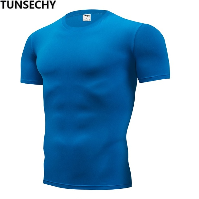 b62118675927b TUNSECHY 2018 брендовая одежда мужская футболка Мужская мода футболки  фитнес для мужчин компрессионная плотная футболка S