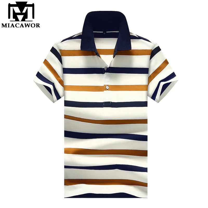 3f55a919ba9bd MIACAWOR New 2019 Fashion Striped Mens Polo Shirt Plus Size Summer Short- sleeve Business Polo