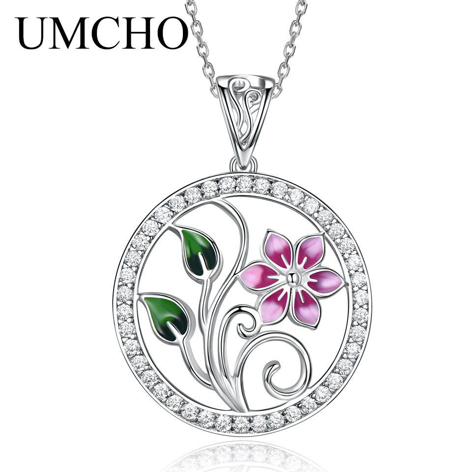 UMCHO Real 925 Sterling Silver Handmade Colorful Enamel Pendants Necklaces for Women Flower Lotus Design Acessorios for WomenUMCHO Real 925 Sterling Silver Handmade Colorful Enamel Pendants Necklaces for Women Flower Lotus Design Acessorios for Women