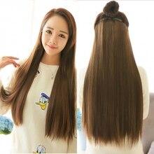 16 цветов Длинные прямые 5 клип в наращивание волос, полный head расширения синтетические волосы, поддельные kanekalon парики расширений
