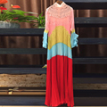 High Quality 2017 Spring Runway Designer Long Dress Women's Long Sleeve Red Yellow Lace Pleated Tiered Maxi Dress