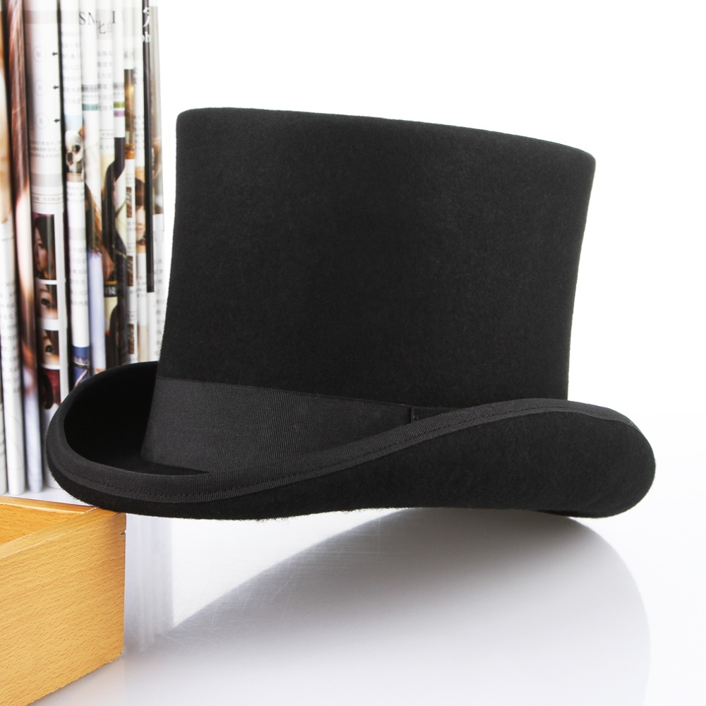 bdd15a3516848 Skup Tanie Classical Wool Top Hat Men President Cap Mad Hatter Hat Retro  Flat Top Curved Brim Steampunk Magic Hat Package in Box Ceny.