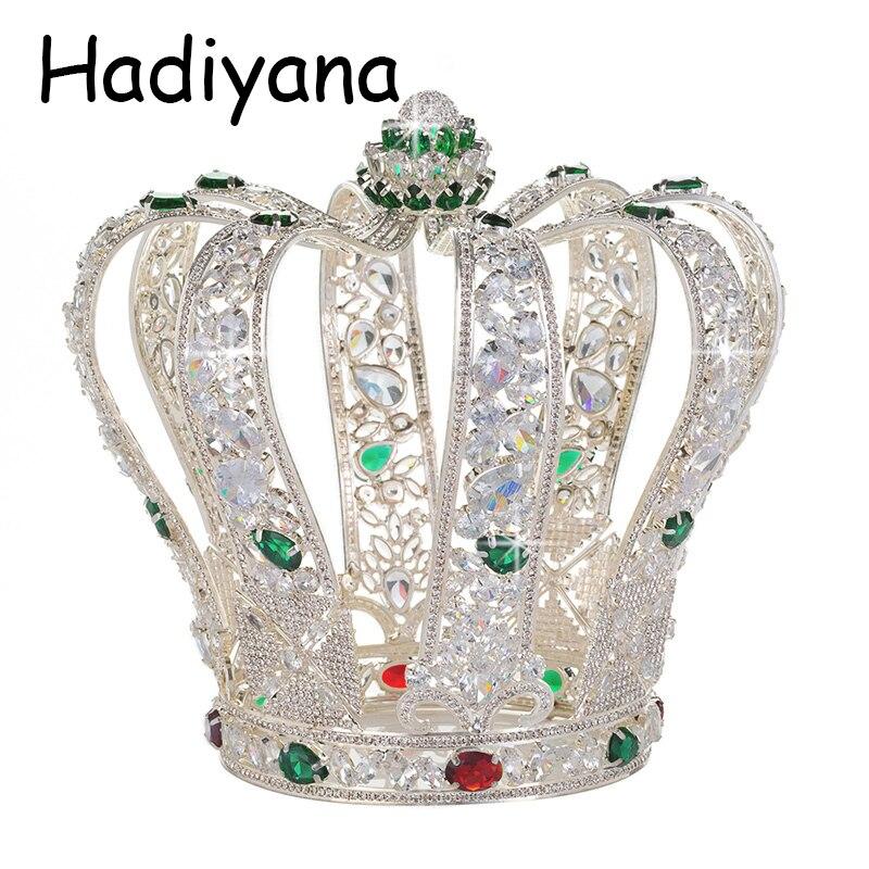 Hadiyana Barocco Di Lusso Completa Cubic Zinconia Corona Da Sposa Elegante Dei Monili Del Partito di Tiara Queen Accessori Corone All'ingrosso HG6041