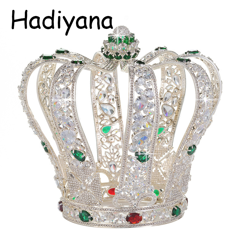 Hadiyana De Luxe Baroque Pleine Cubique Zinconia Couronne Élégant De Noce Bijoux Tiara Reine Accessoires Couronnes Gros HG6041