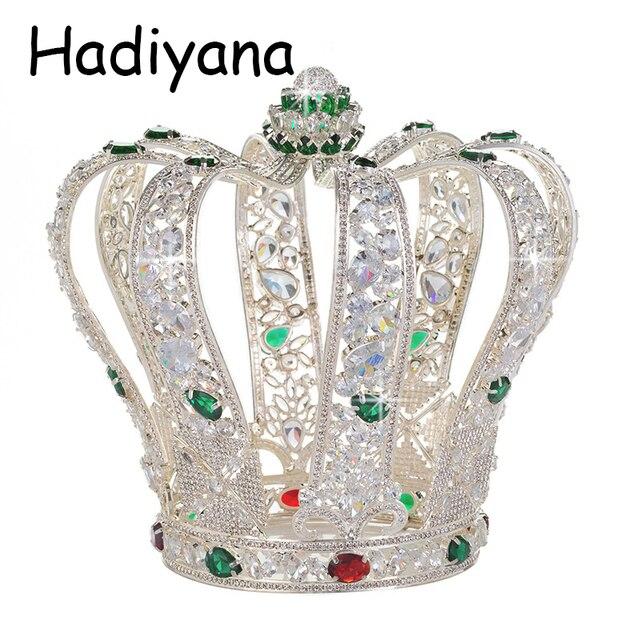 Hadiyana de lujo barroco completa de Zinconia corona elegante boda joyería de la joyería de pelo de la Reina accesorios coronas al por mayor HG6041