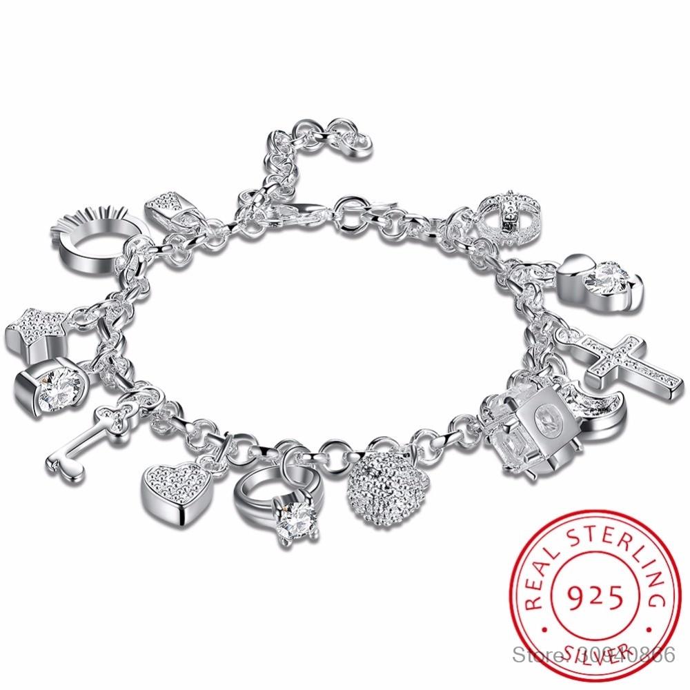 925 Sterling Silver 13 Charms Cross Lock Key Heart Star Moon Flower Zircon Bracelet Bangle Women's Fine Jewelry Accessories